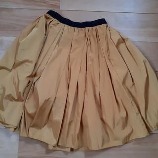 美品 神戸スカート  トレコード フレアスカートチュール付きマスタード系カラー