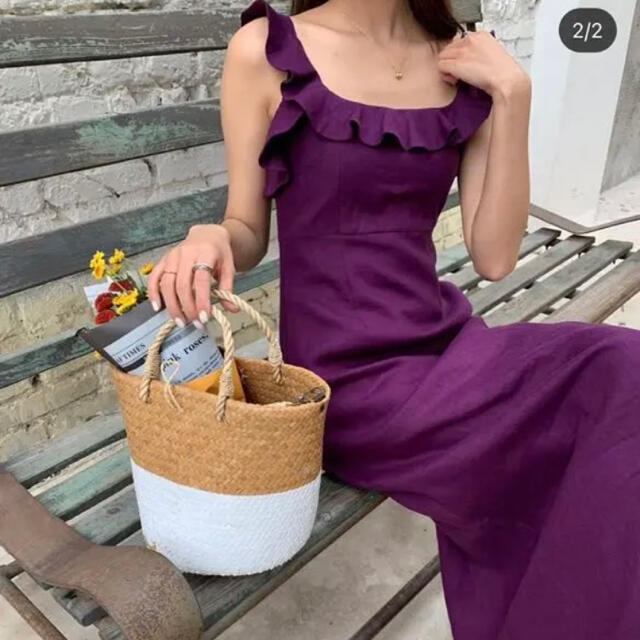 ZARA(ザラ)の美品 バースデーバッシュ フリルリネン ワンピース スカート ドレス スカート レディースのワンピース(ロングワンピース/マキシワンピース)の商品写真