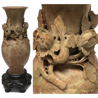 天然 寿山石 花鳥彫刻花瓶 手彫り置物 極上細密彫刻 旧蔵 福建省WWFT064(彫刻/オブジェ)