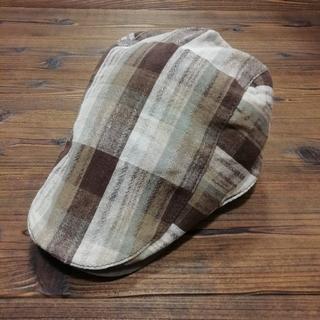 帽子 ハンチング 男女兼用 チェック柄 茶系(ハンチング/ベレー帽)