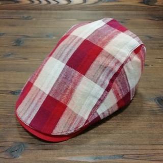 帽子 ハンチング 男女兼用 チェック柄 赤系(ハンチング/ベレー帽)