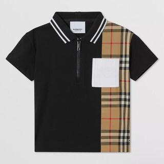 BURBERRY - Burberry コットンジップフロントポロシャツ
