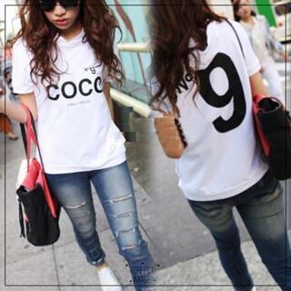 No9 COCOロゴプリントパーカーTシャツブラックホワイトグレーオーバーサイズ