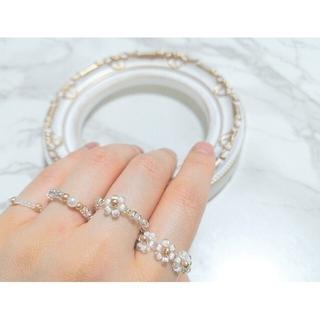 \マーガレットリング/韓国風 ビーズリング 指輪 4点セット