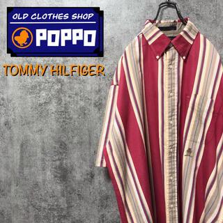 TOMMY HILFIGER - トミーヒルフィガー☆オールド刺繍ロゴ半袖ワイドレトロストライプシャツ