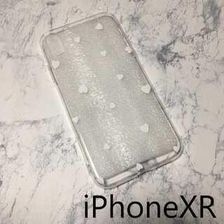 ドット柄 iPhone ケース カバー 透明 クリア ホワイトハート XR(iPhoneケース)