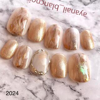 2024 シャンパン ゴールド 天然石 ニュアンス マグネット ネイルチップ