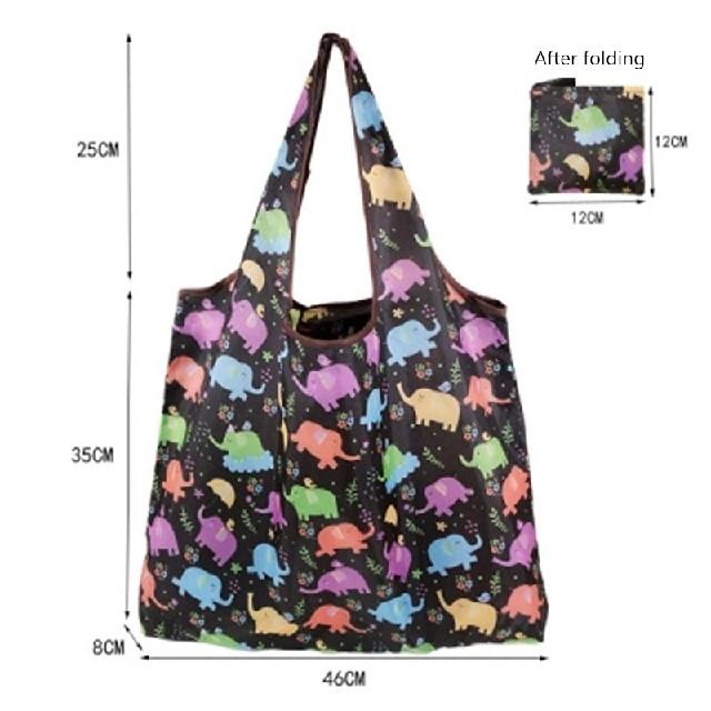 【新品】大容量 エコバッグ コンパクト ぞうさん柄 黒色 レディースのバッグ(エコバッグ)の商品写真