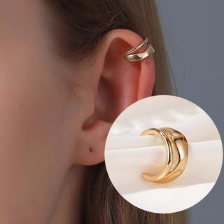 ゴールド シンプル メタル 変形 ダブルライン イヤーカフ 片耳用(イヤーカフ)