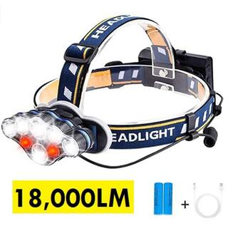 ★即日発送★ 史上最強 18000ルーメン ヘッドライト 防水 USB 電池付属(ライト/ランタン)