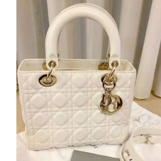 Christian Dior - Dior レディディオール カナージュ ラムスキン バッグ ホワイト