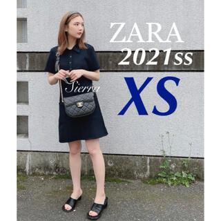ZARA - ZARA 新品♡ポロワンピース ネイビーブルー XS ポロネック 9unq
