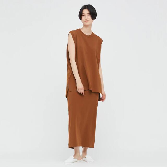 UNIQLO(ユニクロ)のUNIQLOユニクロ マメクロゴウチ エアリズムコットンスリットスカート 茶L レディースのスカート(ロングスカート)の商品写真