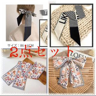 ツイリー スカーフ バッグスカーフ リボン  2点セット ブラック色 花柄