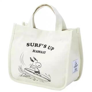 スヌーピー(SNOOPY)のスヌーピー  サーフショップ 限定 ミニトートバック ホワイト タグつき(トートバッグ)
