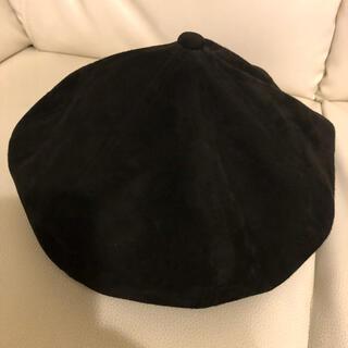 イサムカタヤマバックラッシュ(ISAMUKATAYAMA BACKLASH)の別注 カンガルースエードベレー帽ブラックL59cm美中古(ハンチング/ベレー帽)