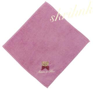 メゾンドフルール(Maison de FLEUR)の♡限定♡メゾンドフルール♡クマ刺繍タオルハンカチ♡今治♡ベア♡くま♡ラデュレ(ハンカチ)