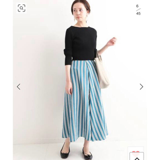 イエナ(IENA)の美品◎IENA シアーランダムフレアスカート グリーン40ストライプ(ロングスカート)
