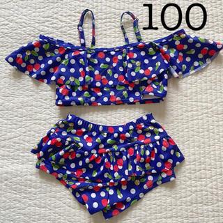 90 95 100韓国子供服 チェリー柄 セパレート 水着 女の子(水着)