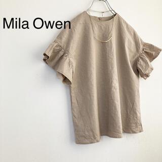 Mila Owen - ★ミラオーウェン★リネンレーヨン袖フリルブラウス ベージュ
