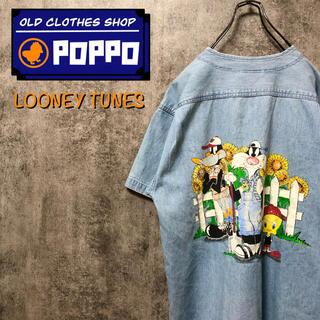 ルーニーテューンズ☆ビッグキャラプリント刺繍ワッペン半袖デニムベースボールシャツ