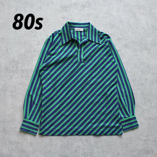 SUNSEA - 80s vintage レトロシャツ オープンカラー ストライプ ツートーン