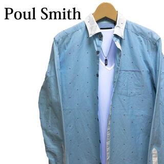 Paul Smith - paul smith 長袖シャツ カッターシャツ 水色 総柄シャツ