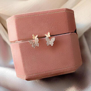 4℃ - micro pave papillon pierce ◯s925 post