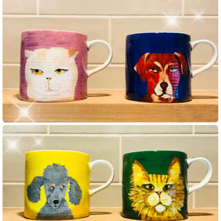Anthropologie - ペットが可愛いマグカップ4個ラスト1セットアンソロポロジー限定品