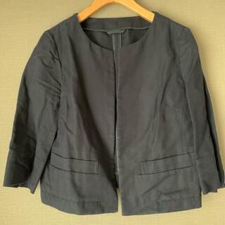 ユニクロ(UNIQLO)のUNIQLO/ユニクロ 春夏 ノーカラージャケット 麻 綿 S ネイビー(ノーカラージャケット)
