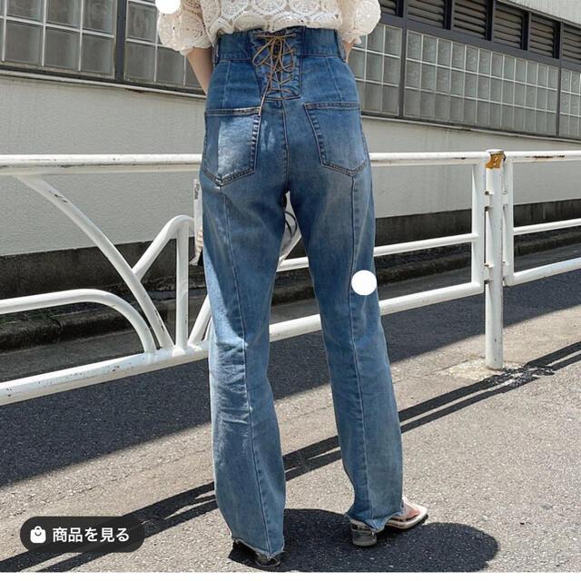 who's who Chico(フーズフーチコ)の13日までお値下げ!バックレースアップデニム レディースのパンツ(デニム/ジーンズ)の商品写真