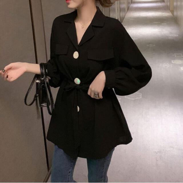 ウエストマーク ブラウス シャツ ブラック レディースのトップス(シャツ/ブラウス(長袖/七分))の商品写真