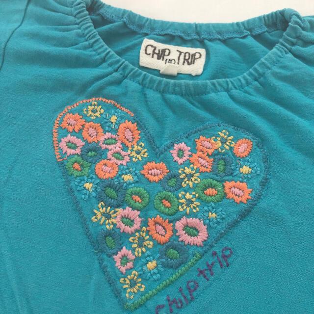 CHIP TRIP(チップトリップ)の110 CHIPTRIP 女の子刺繍Tシャツ キッズ/ベビー/マタニティのキッズ服女の子用(90cm~)(Tシャツ/カットソー)の商品写真