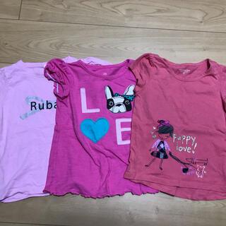 100サイズぐらい ピンク系半袖Tシャツ 3枚セット