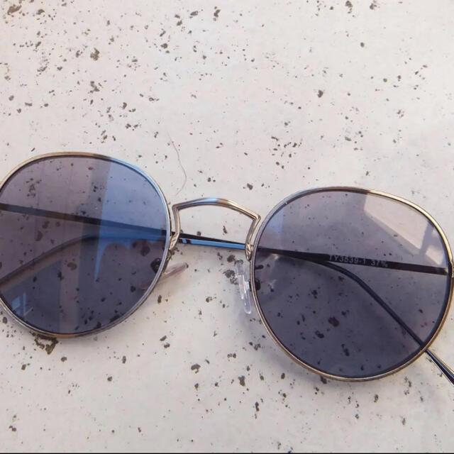 (未使用)ボストン型 サングラス アンティークシルバー✕ブルーグレー メンズのファッション小物(サングラス/メガネ)の商品写真
