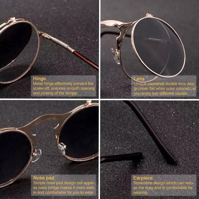 丸メガネ眼鏡サングラス跳ね上げ式レトロ個性的めがねラウンド ヴィンテージ ミリタ メンズのファッション小物(サングラス/メガネ)の商品写真