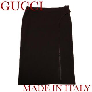 グッチ(Gucci)のグッチ イタリア製 ストレッチタイトスカート ブラウン 膝丈(ひざ丈スカート)
