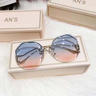 個性的メガネ眼鏡めがねサングラス水色ピンクグラデーションメガネブルーゴールドUV