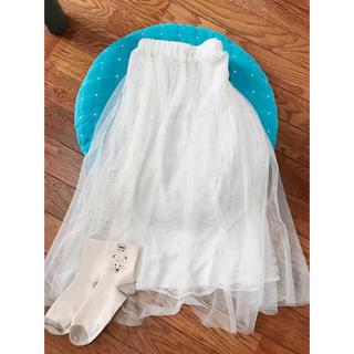 シマムラ(しまむら)の白レーススカート(ロングスカート)