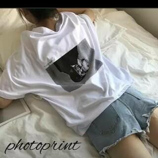 今季大人気!! バックプリント 韓国 フォトプリント Tシャツ オーバーサイズ