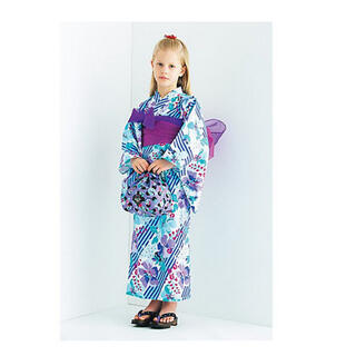 アナスイミニ(ANNA SUI mini)の新品 ANNA SUI mini オリジナルストライプ×花柄2WAY浴衣 130(甚平/浴衣)