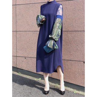 mame - mame Stained Glass Prinded Sleeve Dress
