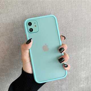 iPhone ケース カバー 半透明 マットグリーン