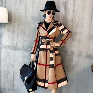 XL カーキ トレンチコート チェック ロングコート 女優コート ウエストリボン