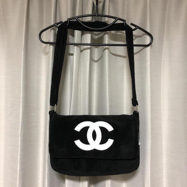 CHANEL(シャネル)のCHANEL ノベルティー ショルダーバッグ テテ着用 パイル 黒 ブラック レディースのバッグ(ショルダーバッグ)の商品写真