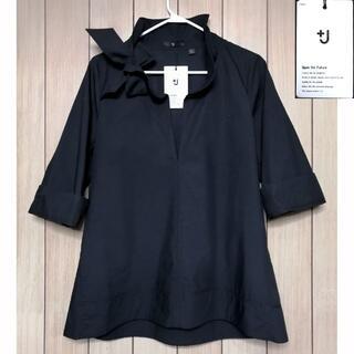 UNIQLO - レア★+J リボンフリルシャツ黒L