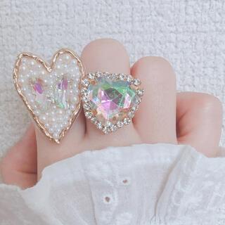 オーロラ きらきら 蝶々 ビジュー パール 刺繍 ハート ゴールド リング 指輪