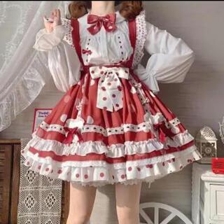 スカート日常の赤いハーフスカートストラップドレスLolita3(衣装一式)