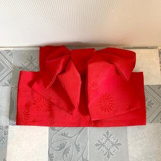 ミツコシ(三越)の三越購入浴衣付け帯赤(浴衣帯)