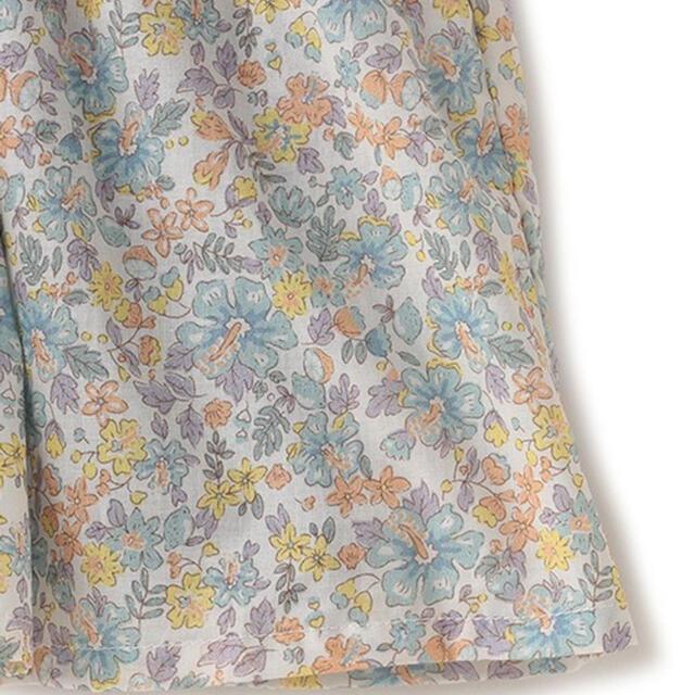 petit main(プティマイン)のpetit main 小花柄ドッキングテレコTシャツ ネイビー キッズ/ベビー/マタニティのキッズ服女の子用(90cm~)(Tシャツ/カットソー)の商品写真